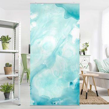 Tenda a pannello - Emulsione Bianco e Turchese I - 250x120cm