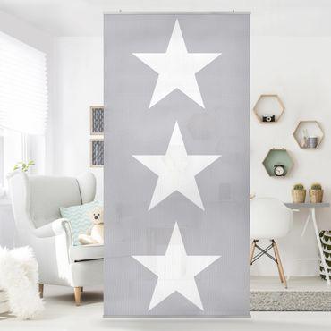 Tenda a pannello Large white stars on grey 250x120cm