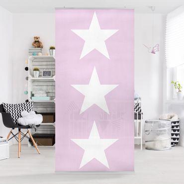 Tenda a pannello Big White Stars on Pink 250x120cm