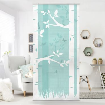 Tenda a pannello green birches with butterflies and birds 250x120cm