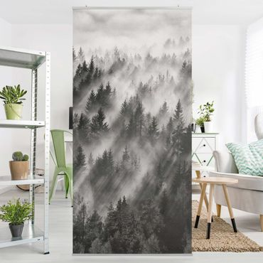 Tenda a pannello - Raggi Luce nella foresta di conifere - 250x120cm