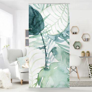 Tenda a pannello - fronde di palma in acquerello II - 250x120cm