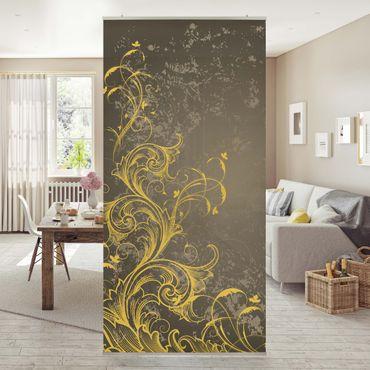Tenda a pannello Flourishes in gold and silver 250x120cm