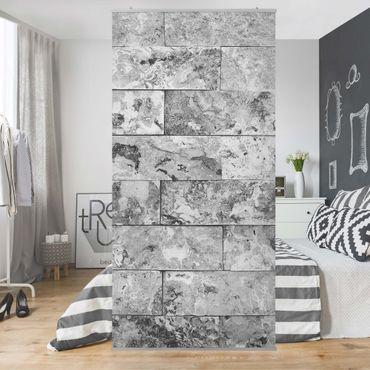 Tenda a pannello - Stone wall natural marble gray - 250x120cm