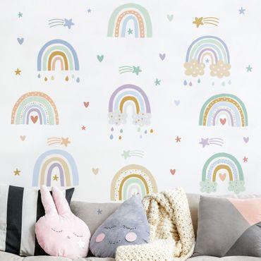 Tatuaggio murale multicolore - Set arcobaleni pastello