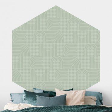 Carta da parati esagonale adesiva con disegni - Fantasia arcobaleno in grigio
