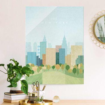 Quadro in vetro - Poster di viaggio - Autunno a New York