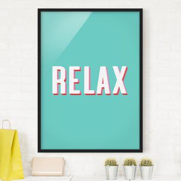 Poster con cornice - Relax Typo su blu
