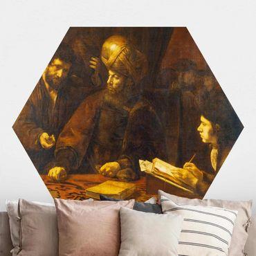 Carta da parati esagonale adesiva con disegni - Rembrandt van Rijn - La parabola dei lavoratori