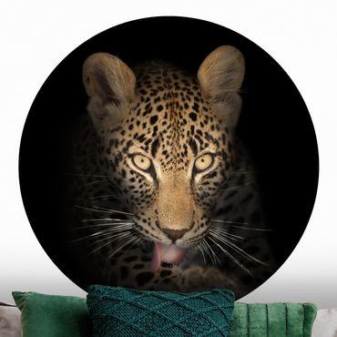 Carta da parati rotonda autoadesiva - Riposo Leopard