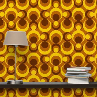 Carta da parati - 70s Circle Wallpaper yellow brown