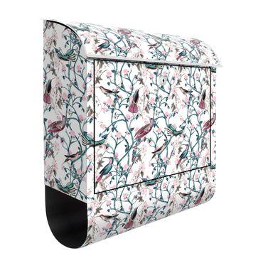 Cassetta postale - Viticcio floreale rosa con uccellini in blu