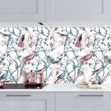 Rivestimento cucina - Viticcio floreale rosa con uccellini in blu