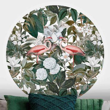 Carta da parati rotonda autoadesiva - Fenicotteri rosa con foglie e fiori bianchi
