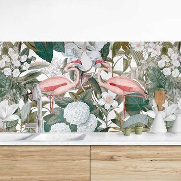Rivestimento cucina - Fenicotteri rosa con foglie e fiori bianchi