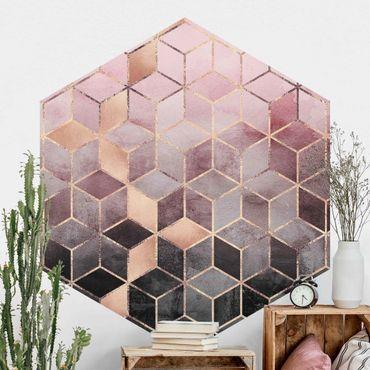 Carta da parati esagonale adesiva con disegni - Geometria dorata con rosa e grigio