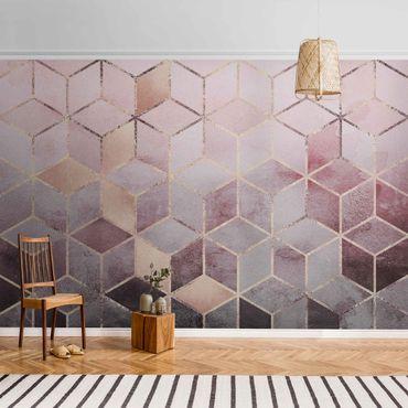 Carta da parati metallizzata - Geometria dorata con rosa e grigio