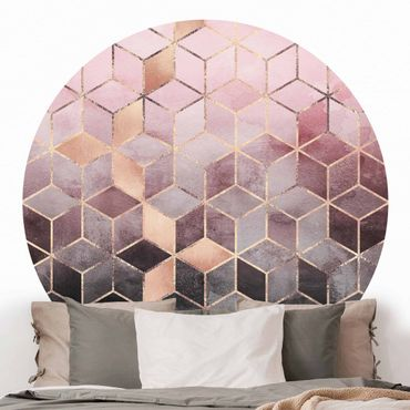 Carta da parati rotonda autoadesiva - Elisabeth Fredriksson - Geometria d'oro Rosa Grigio
