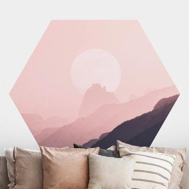 Carta da parati esagonale adesiva con disegni - Nebbia rosa
