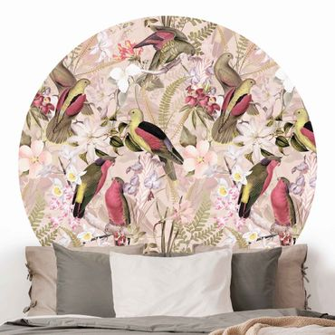 Carta da parati rotonda autoadesiva - uccelli rosa pastello con fiori