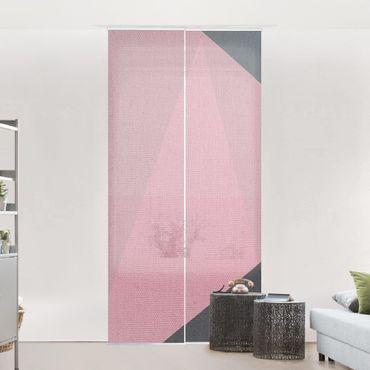Tenda scorrevole set -Geometria rosa trasparente - Pannello