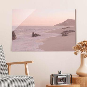 Quadro in vetro - Spiaggia oro rosa