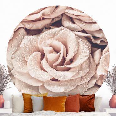 Carta da parati rotonda autoadesiva - Roses seppia con gocce d'acqua