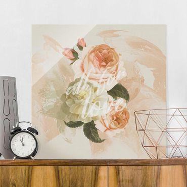 Quadro in vetro - Roses - All for Love