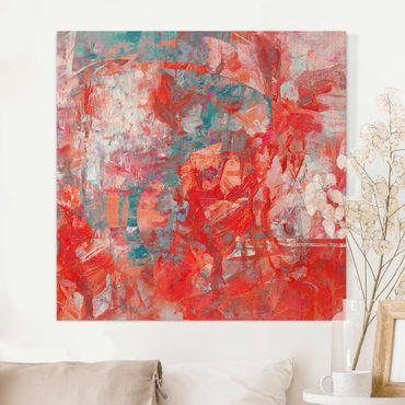 Stampa su tela - Danza di fuoco rossa - Quadrato 1:1