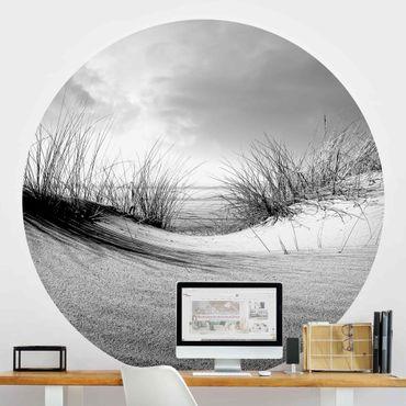Carta da parati rotonda autoadesiva - Dune di sabbia in bianco e nero