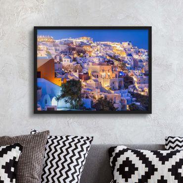Poster con cornice - Santorini di notte