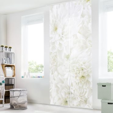 Tende scorrevoli set - Dahlias Sea Of Flowers White