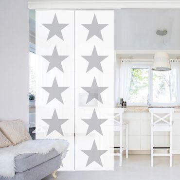 Tende scorrevoli set - Great Gray Stars On White