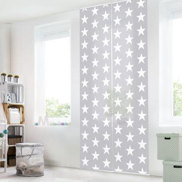 Tende scorrevoli set - White Stars On Grey Background