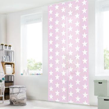 Tende scorrevoli set - White Stars On Pink