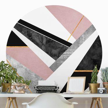 Carta da parati rotonda autoadesiva - Elisabeth Fredriksson - la geometria in bianco e nero con l'oro