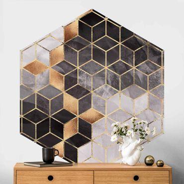 Carta da parati esagonale adesiva con disegni - Geometria dorata con bianco e nero