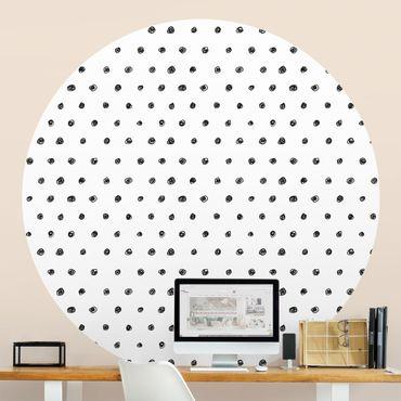 Carta da parati rotonda autoadesiva - dot pattern inchiostro nero