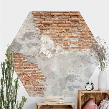 Fotomurale esagonale autoadesivo - Muro di mattoni shabby