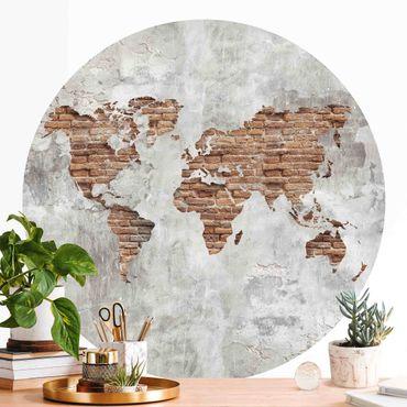 Carta da parati rotonda autoadesiva - Shabby mattone concreto mappa del mondo