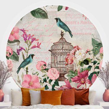 Carta da parati rotonda autoadesiva - Shabby Chic Collage - Fiori rosa e uccelli blu