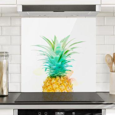 Paraschizzi in vetro - Pineapple Watercolor - Quadrato 1:1