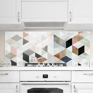 Paraschizzi in vetro - Mosaico con triangoli in acquerello I - Panoramico