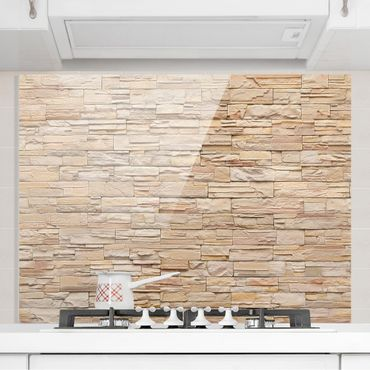 Paraschizzi in vetro - Asian Stonewall - Large Brigth Stone Wall Of Cosy Stones - Orizzontale 1:2