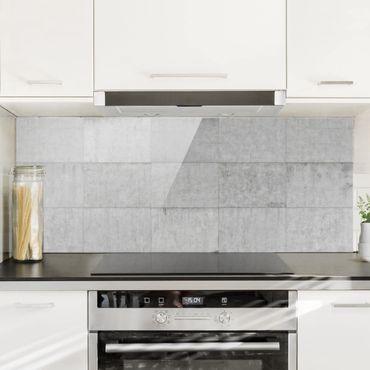 Paraschizzi in vetro - Concrete Tile Look Grey - Panoramico