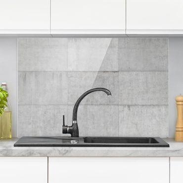 Paraschizzi in vetro - Concrete Tile Look Grey - Orizzontale 2:3