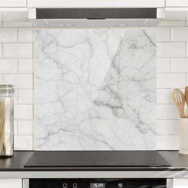 Paraschizzi in vetro - Bianco Carrara - Quadrato 1:1