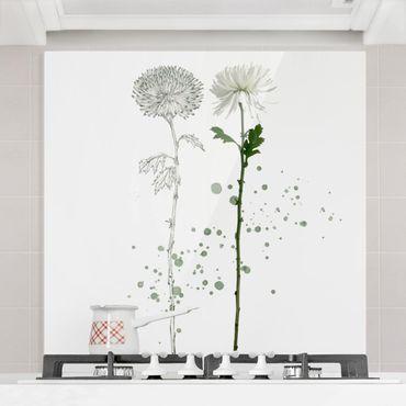 Paraschizzi in vetro - Acquerello Botanico - Soffione - Quadrato 1:1