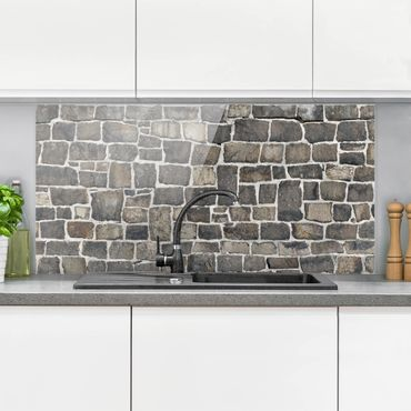 Paraschizzi in vetro - Crushed Stone Wallpaper Stone Wall - Orizzontale 1:2