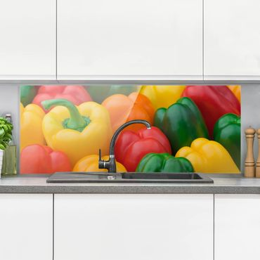 Paraschizzi in vetro - Colorful Peppers - Panoramico